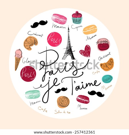 Vector hand drawn illustration with Paris symbols. Paris je T'aime - stock vector