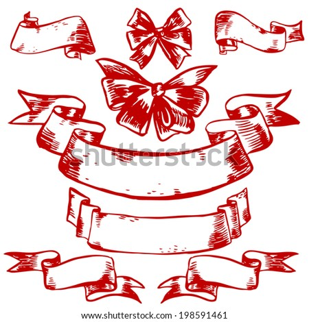 Vector hand-drawn illustration with ribbons - stock vector
