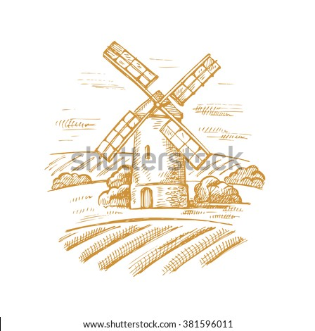 vector hand drawn image of mill and landscape - stock vector
