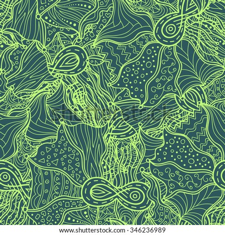 Vector hand drawn infinity lace doodle pattern. Seamless pattern created for making wallpaper, background, textiles, wrapping.