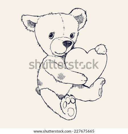 Vector hand drawn ink pen illustration of cute teddy bear holding heart | Soft toy teddy bear with heart design element - stock vector