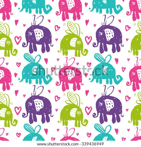 Vector hand-drawn ink seamless pattern with  cute cartoon doodle elephant. african animal - stock vector