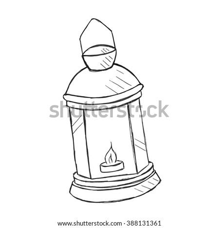 Vector hand drawn kerosene lamp, doodle style - stock vector