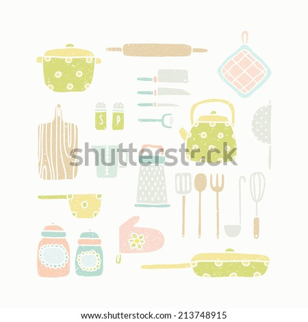 Vector hand drawn kitchen tools - stock vector