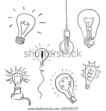 Vector hand drawn light bulbs, concept of idea - stock vector