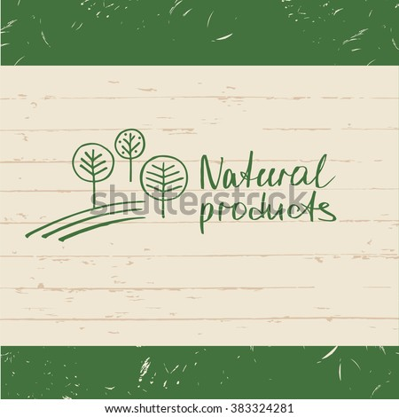 Vector hand drawn logo fresh farm. Lettering logo agriculture and farm. Sketch of rural landscape with trees. - stock vector