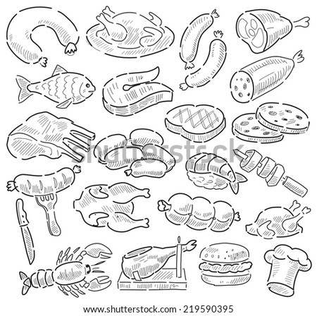vector hand drawn meat and sausage elements set - stock vector