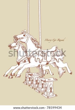 Vector Hand Drawn Merry-Go-Round Horse - stock vector