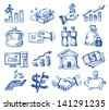 vector hand drawn money and business icons set on white - stock vector