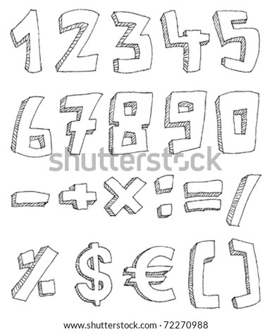 Vector hand drawn numbers and math signs - stock vector