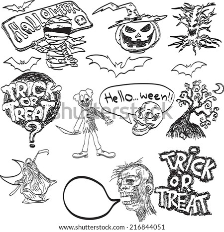 vector hand drawn of Halloween objects. - stock vector