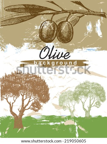 vector hand drawn olive on paint background - stock vector