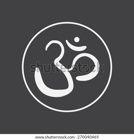 vector hand drawn om sign and symbol. sacred sound sketch on a black background - stock vector