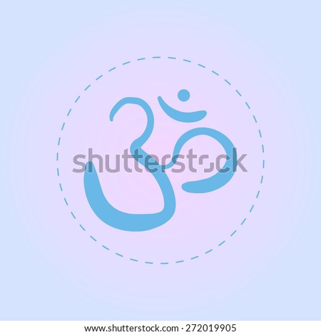 vector hand drawn om sign and symbol. sacred sound sketch on a blue background - stock vector
