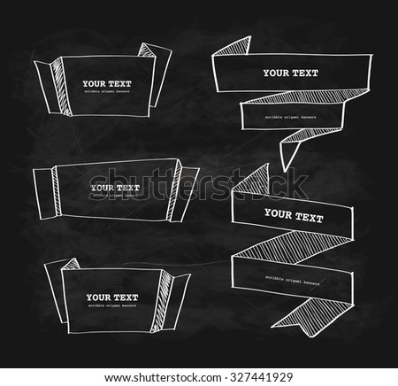 Vector hand-drawn origami banner chalkboard scribble  design set
