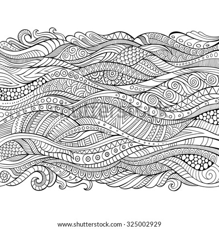 Vector hand drawn outline abstract ornamental ethnic stripe background - stock vector