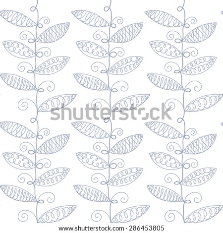 Vector hand drawn outline plants on white  background. Seamless pattern. - stock vector