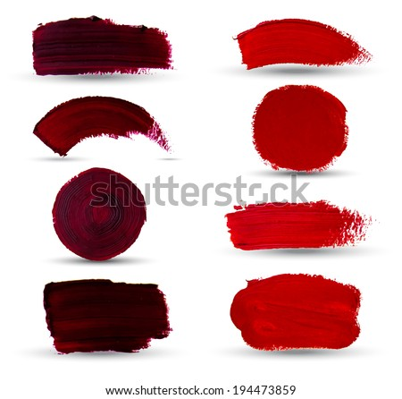 Vector hand drawn paint stains grunge set. Vector oil spots. Isolated shapes on white background. - stock vector