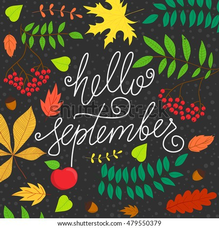 Charmant Vector Hand Drawn Phrase   Hello September. Cute Greeting Card With  Handwritten Calligraphy And Autumn