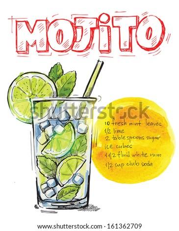 vector hand drawn picture of mojito glass - stock vector