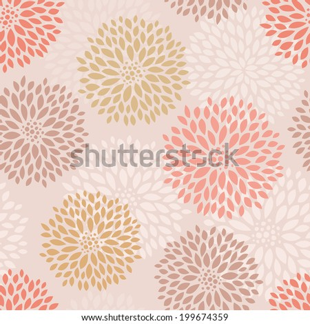 Vector hand drawn pink floral seamless pattern  - stock vector