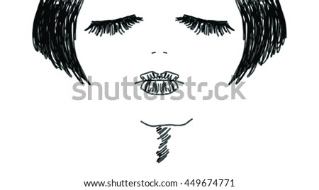 vector hand drawn portrait of a sexy woman with a bob haircut