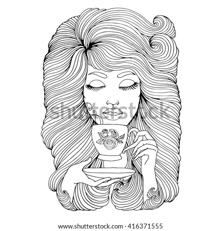 Vector hand drawn portrait of young girl with long wavy hair. Girl with closed eyes holding a cup of tea with the figure rose and saucer. The girl with pleasure drink a hot drink tea. Romantic girl.