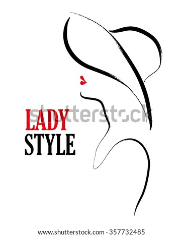 Vector hand drawn portrait of young stylish profile girl in hat on white background. Vogue stylized illustration. Good for magazine cover, journal article, print, package design, shop and store logo. - stock vector