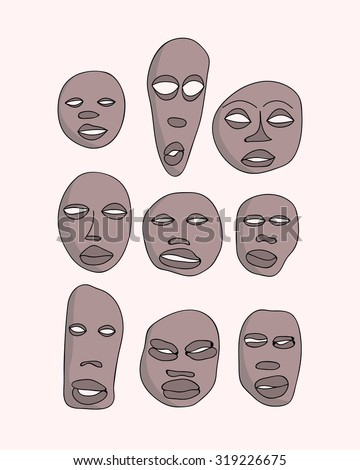 Vector hand drawn primitive african masks set. Isolated national ritual elements sketch collection - stock vector