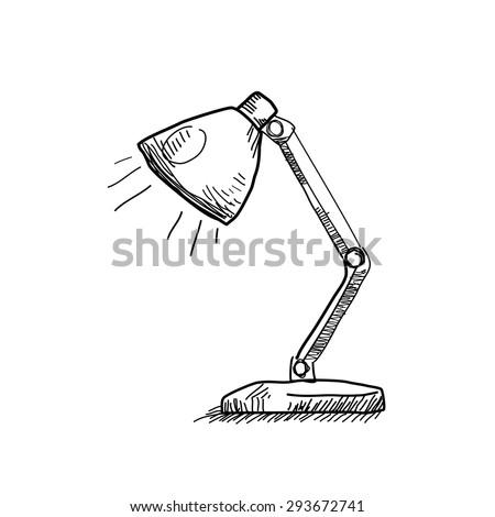 Vector hand drawn reading-lamp. - stock vector
