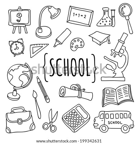 Vector hand drawn school and college education objects and icons