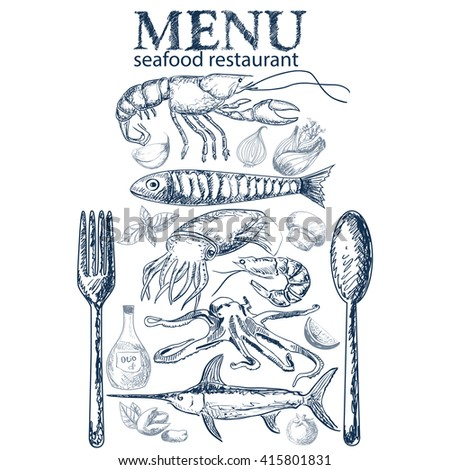 Vector hand drawn seafood restaurant doddle set  - stock vector