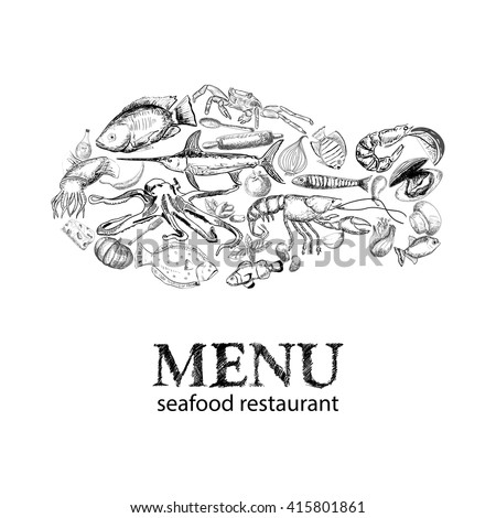 Vector hand drawn seafood restaurant doddle set