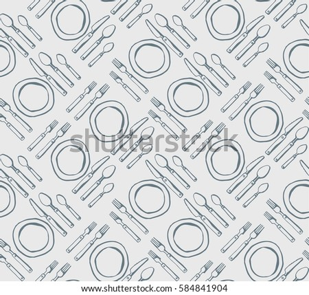 color kitchen utensils vector hand drawn seamless background kitchen stock vector