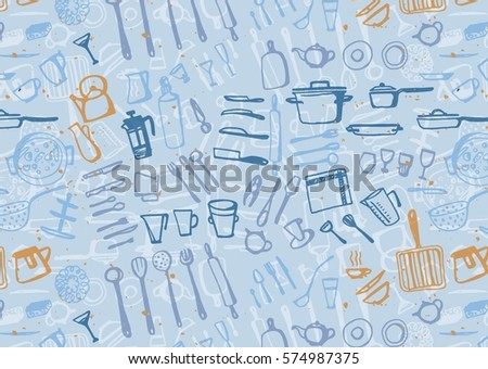color kitchen utensils freehand drawing kitchen utensils knife spoon stock vector