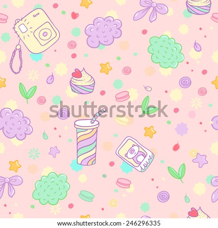 Vector hand drawn seamless pattern. Cute pattern with the image of the camera, cocktail, pastry, macaroon, bow, photo palaroid, panda, cloud and others. - stock vector