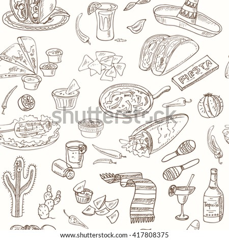 Vector hand drawn seamless pattern Mexican food vegetables, tequila, burrito, tacos and other mexican eating.  Vintage illustration for design menus, recipes and packages product.