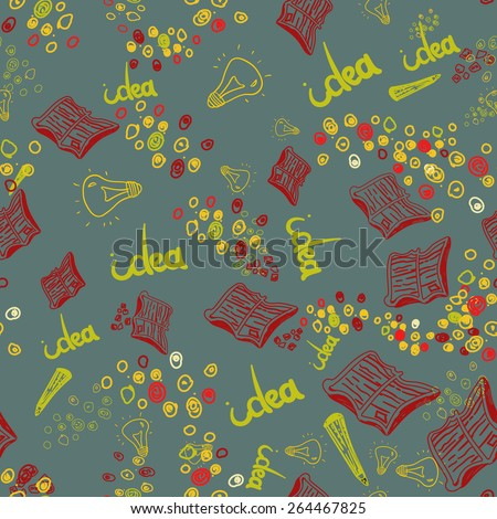 Vector hand drawn seamless pattern with book, lamp, idea and pencil. Doodle style. EPS10.