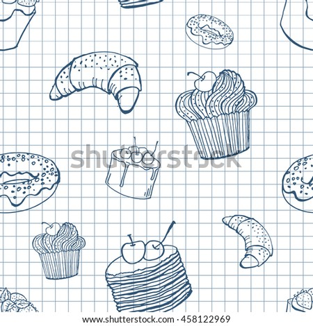 vector hand drawn seamless pattern with desserts