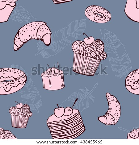 vector hand drawn seamless pattern with desserts and feathers
