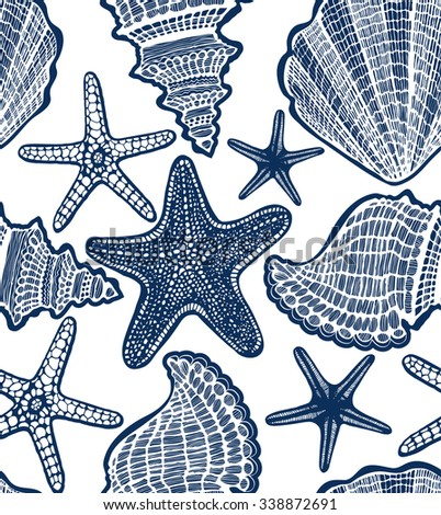 vector hand-drawn seamless white background with navy blue starfishes and shells