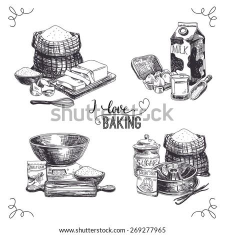 Vector hand drawn set bakery goods. Vintage Illustration with milk, sugar, flour, vanilla, eggs, mixer, baking powder, rolling, whisk, spoon vanilla bean, butter and kitchen dish.  - stock vector