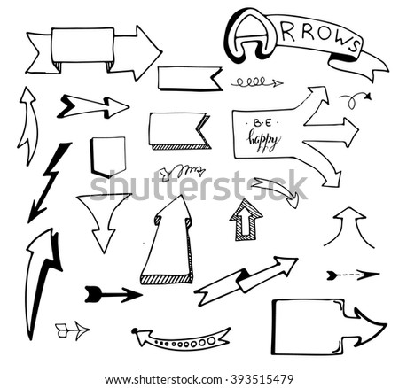 Vector hand drawn set of arrows on white background