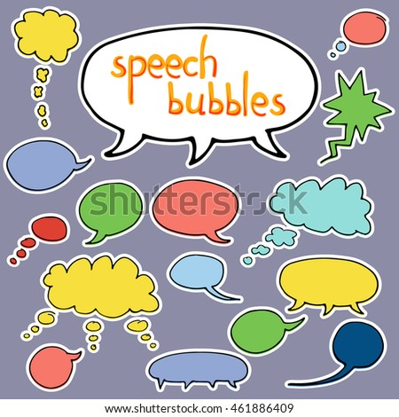 Vector hand drawn set of comic speech bubbles. Isolated. Black outlines. Collection of cartoon speech and thought communication bubbles in doodle style. Blank empty speech bubbles. Colorful. Sticker
