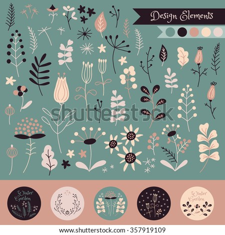 Vector hand drawn set of doodle flowers. Winter floral elements