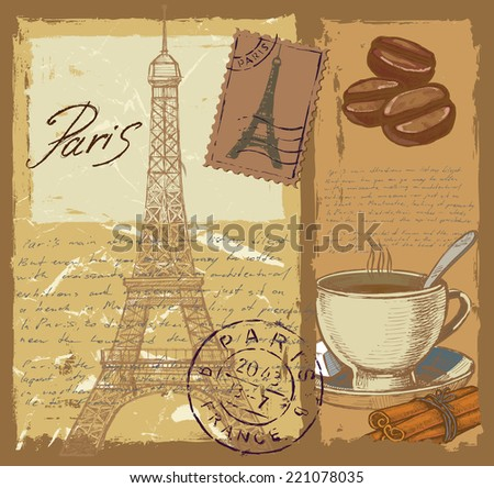 vector hand drawn set of france on paint background - stock vector