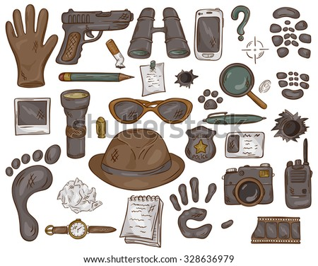 vector hand drawn set of illustration with  detective tools and evidence - stock vector