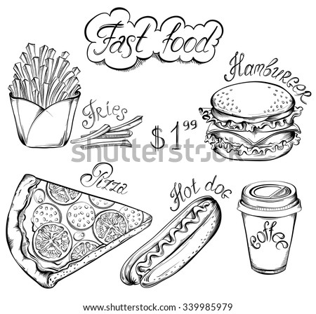 Vector hand drawn set of Retro Fast Food Menu in vintage style. Pizza, burger, hot dog, drink, french fries - stock vector