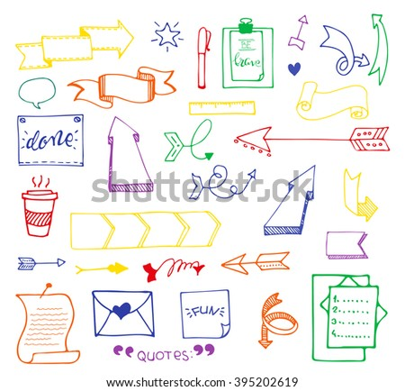 Vector hand drawn set on white background of elements: arrows, banners, words, list, brushes, pens, figures