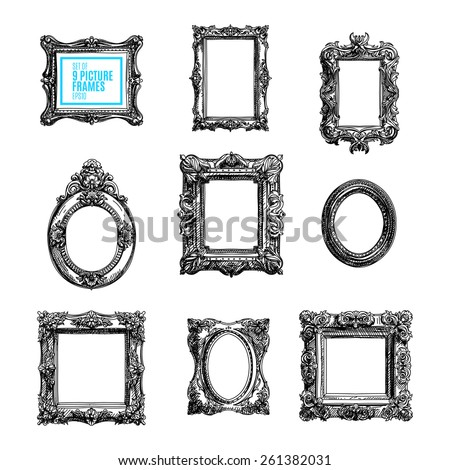 Vector hand drawn set with picture frames. Sketched illustration collection. - stock vector